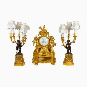 Vergoldetes Bronze Kaminsims Set, 19. Jh., 3er Set