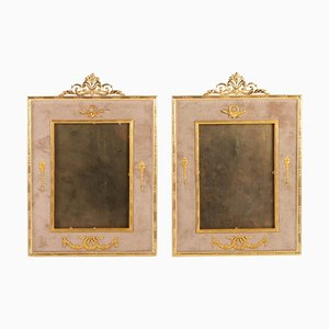 Napoleon III Gilt Bronze and Beige Velvet Frames, Set of 2