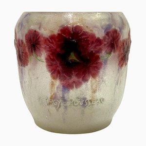 Geranium Vase in rosa, violetter & weißer Glaspaste von Gabriel Argy-Rousseau, 1920er