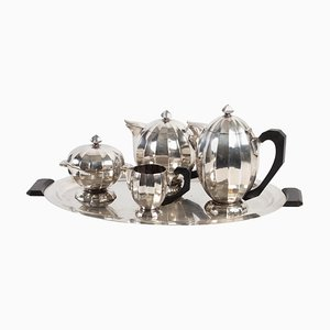 Coffee Maker, Teapot, Milk Pot, Sugar Bowl & Tray in Silver Metal, 1930s, Set of 5