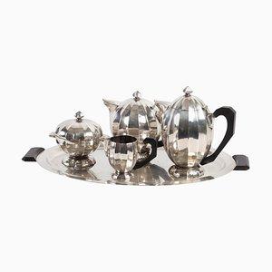 Kaffeemaschine, Teekanne, Milchkanne, Zuckerdose & Tablett aus versilbertem Metall, 1930er, 5er Set