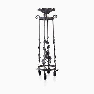 Art Deco Wrought Iron 4-Light Ceiling Lamp, 1930s