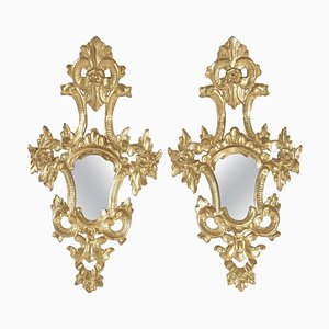 Goldplattierte handgeschnitzte Napoleon III Spiegel aus vergoldetem Holz, 2er Set