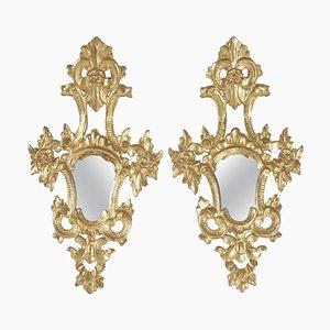 Specchi Napoleone III in legno dorato intagliato a mano, set di 2