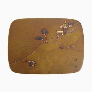 19th Century Japanese Bronze, Gold & Silver Enamel Box