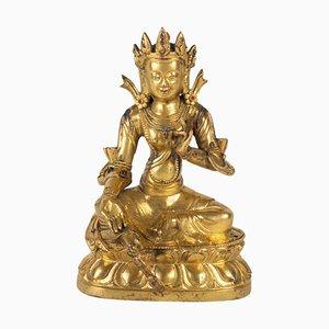 Antiker Chinesischer Buddha mit Goldbrauner Bronze