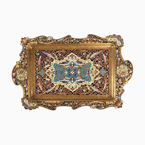 19th Century Napoleon III Gilt Bronze and Enamelled Bronze Tray