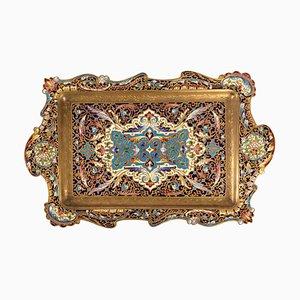 Napoleon III Tablett aus vergoldeter Bronze und emaillierter Bronze, 19. Jh