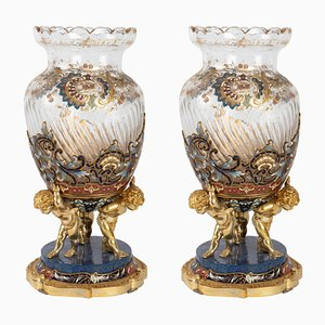 Opaline Moser Vases Lined with White and Pink Opaline, Set of 2