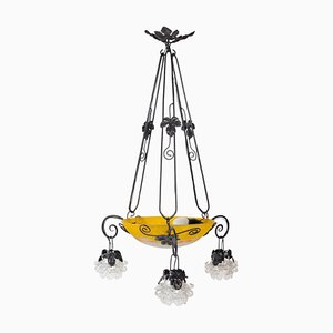 Art Nouveau Wrought Iron Chandelier with Glass Paste Bowl and Flowers, 1900s