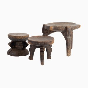 Africans Wooden Stool and Cups, Set of 3
