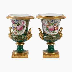 Antike Medici Vasen aus Porzellan, 2er Set