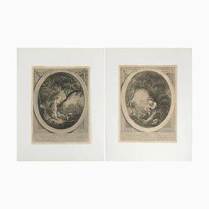 Incisioni in acciaio, XIX secolo, set di 2