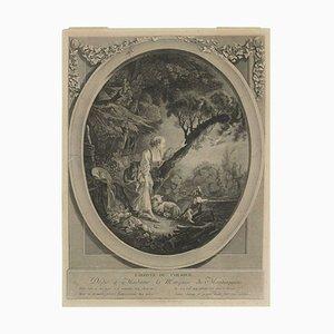 19th Century Romantic Steel L'arrive Du Courrier Engraving