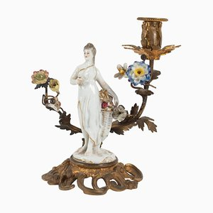 19th Century Candlestick in Ancient Porcelain and Gilded Metal