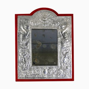 19th Century Napoleon III Mirror in Silver Plate