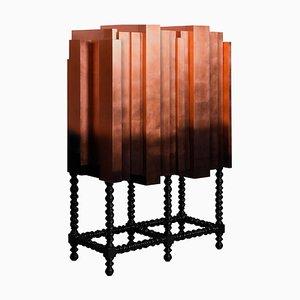 Mueble bar de chapa maciza de cobre, chapa de cobre y lacado