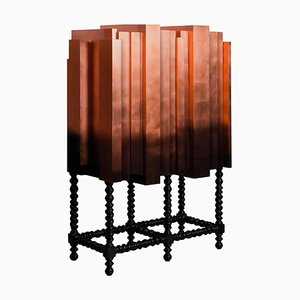 Solid Mahogany, Copper Leaf Veneer & Lacquer Bar Cabinet
