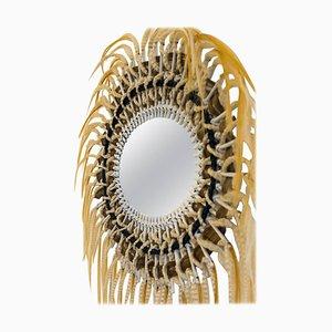 Art Modern Rattan and Synthetic Fibers Mirror by Micki Chomicki