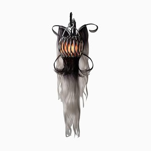 Art Modern Rattan Sconce and Synthetic Fibers by Micki Chomicki