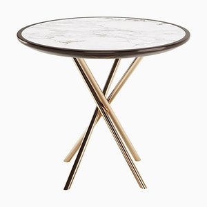 Round Side Table with Lacquered Marble Top & Copper Stainless Legs