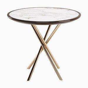 Tavolino rotondo con ripiano in marmo laccato e gambe in rame