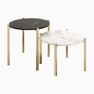 Round Side Tables with Coated Metal Legs, Set of 2