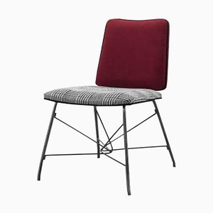 Sedia da pranzo in nichel nero e gambe in acciaio inossidabile