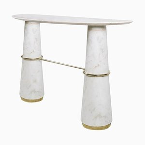 Console Table in Marble with Brass Details