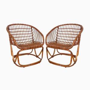 Rattan Stuhl von Tito Agnoli für Pierantonio Bonacina, 1950er