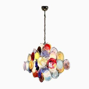 Lámpara de araña multicolor de cristal de Murano de Vistosi, 1988