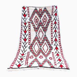 Tapis Beni Ouarain Berbère Rouge et Blanc Vintage