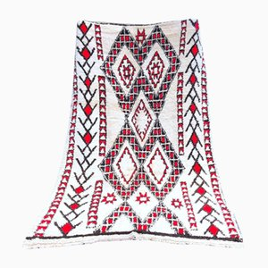 Vintage Red & White Beni Ouarain Berber Carpet