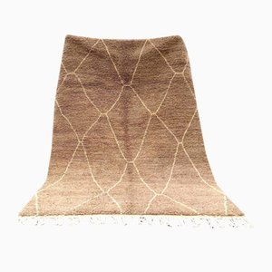 Vintage Brown Beni Ouarain Berber Carpet
