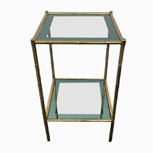 Vintage Brass and Stained Glass Console Table, 1960s
