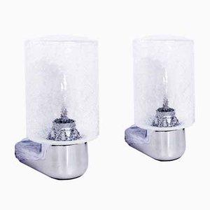 Applique vintage in metallo cromato e vetro, set di 2