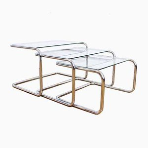 Bauhaus Style Nesting Tables, 1970s, Set of 3