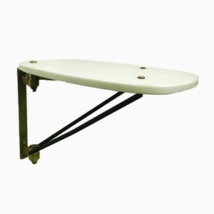 Mid-Century Italian White Marble, Brass & Black Enamel Metal Oval Revolving Coffee Table, 1950s
