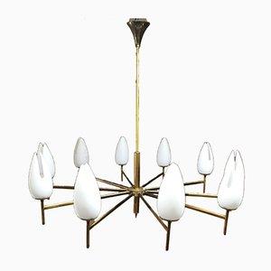 Lámpara de techo Mid-Century de latón y vidrio opalino atribuida a Arredoluce, años 50