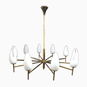 Mid-Century Brass and Opal Glass Ceiling Lamp Attributed to Arredoluce, 1950s