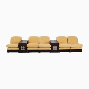 Vintage Modular Lounge Chairs & Turntable Speakers, 1970s, Set of 7