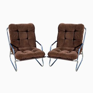 Danish Lounge Chairs with Chrome Frames, 1970s, Set of 2