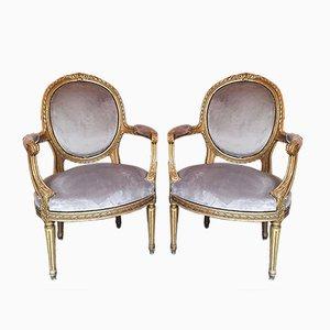 Louis XVI Golden Wood Armchairs, Set of 2