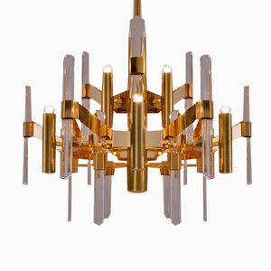 Crystal & Brass Chandelier by Gaetano Sciolari, 1970s