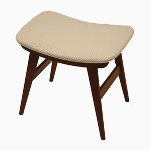 Mid-Century Danish Teak Footstool with New Fabric