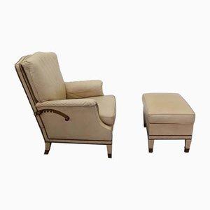 Conjunto de sillón y otomana, años 70