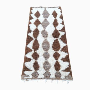 Vintage Brown & Beige Beni Ouarain Carpet