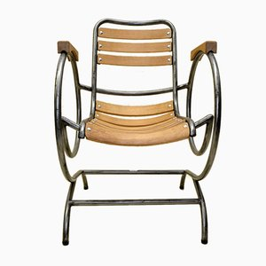 French Industrial Metal & Wood Armchair by Lucien Illy for Flexi-Tube, 1950s