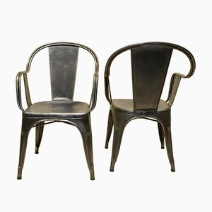 Vintage French Metal C Armchairs by Xavier Pauchard for Tolix, 1950s, Set of 2