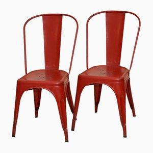 Sillas francesas industriales vintage de metal rojo de Xavier Pauchard para Tolix, años 50. Juego de 2